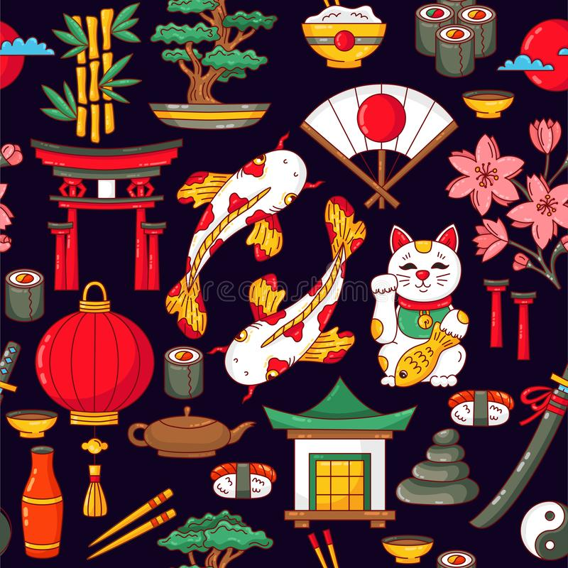 Dos desenhos animados tradicionais dos símbolos de Japão teste padrão sem emenda do vetor ilustração do vetor