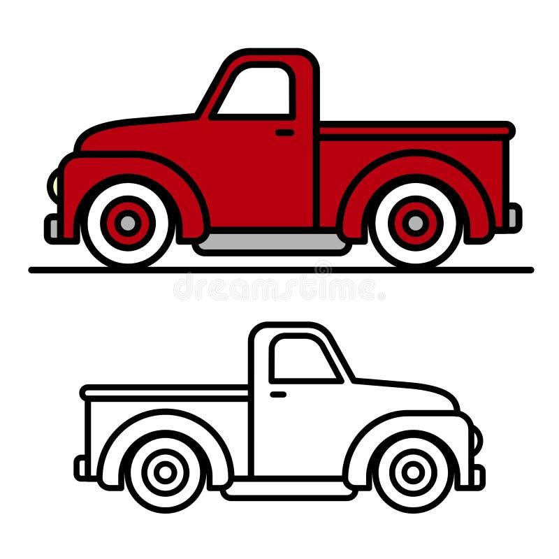Dos dibujos de esquema del camión de recogida del vintage stock de ilustración