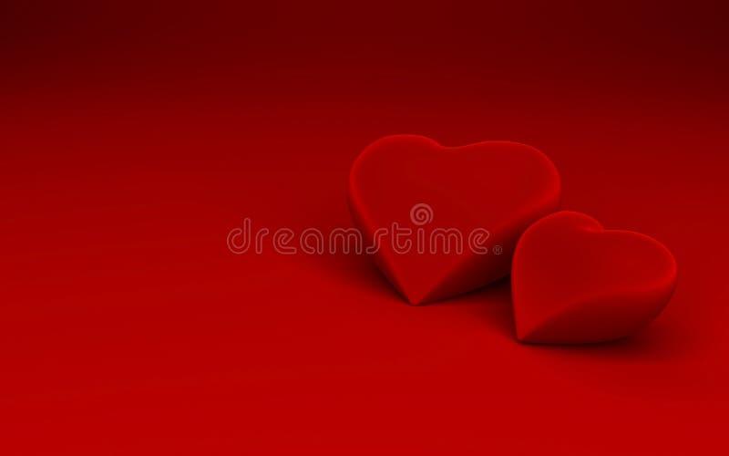 Dos dimensiones de una variable del corazón en fondo rojo libre illustration