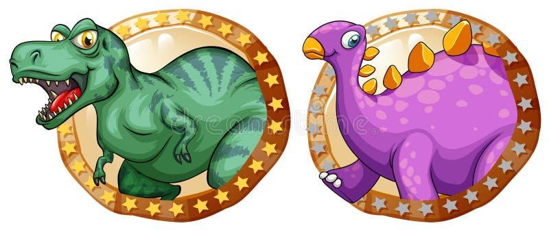 Dos dinosaurios en insignias redondas ilustración del vector
