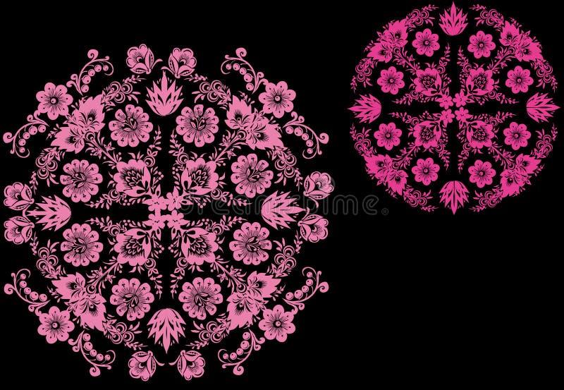 Dos diseños rosados del redondo stock de ilustración