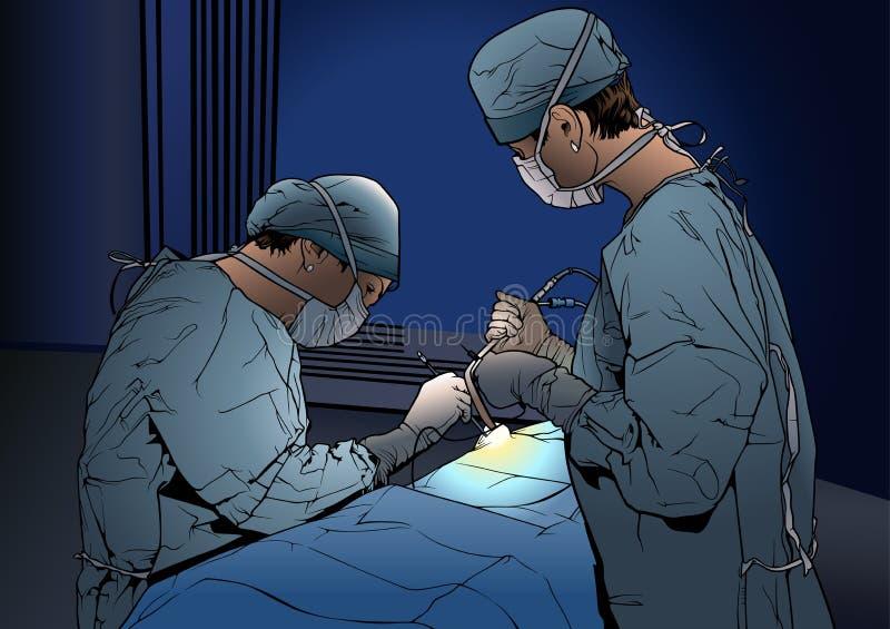 Dos doctores de la mujer en la sala de operaciones libre illustration