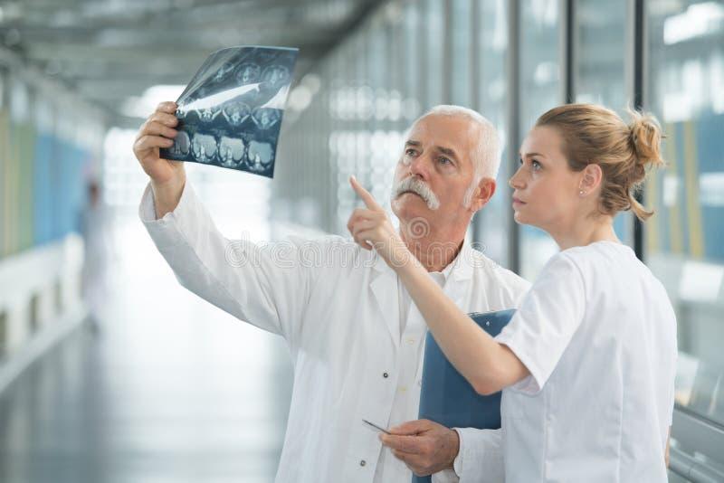 Dos doctores que comprueban la radiografía de los pacientes en hospital imagen de archivo libre de regalías