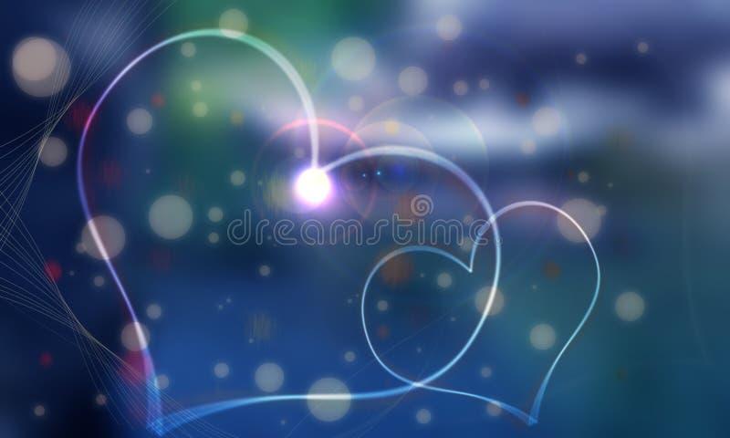 Dos dois corações fundo azul da gema branca e de que i ilustração do vetor