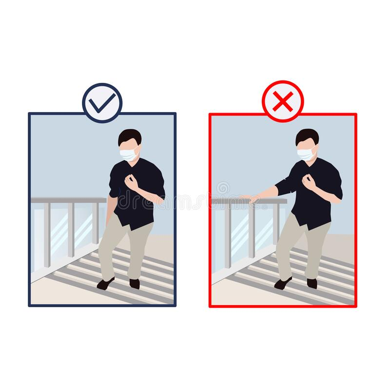Dos and don`ts touch the handrail. stock photography