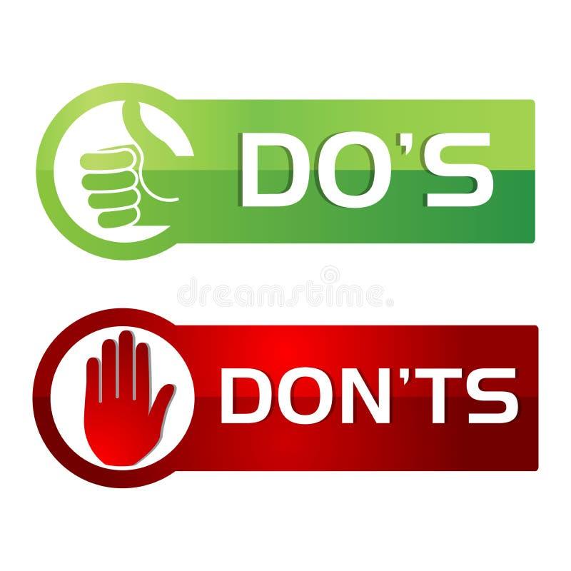 Dos Donts Red Green Button stil royaltyfri illustrationer