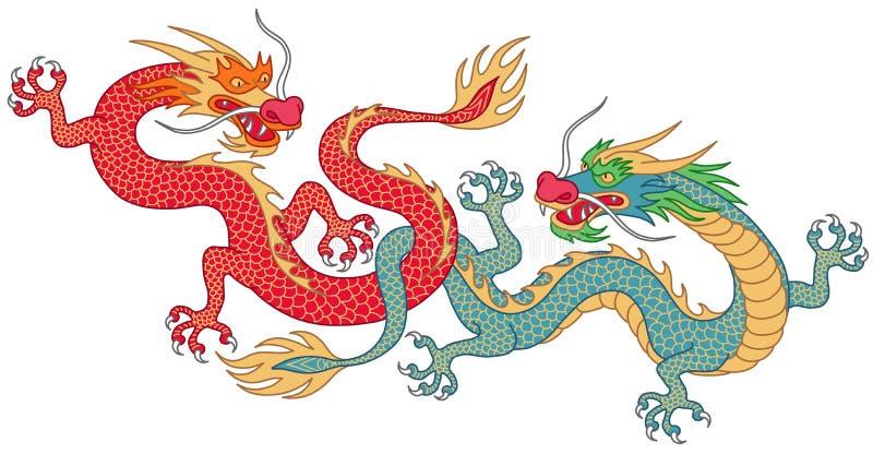 Dos dragones que luchan ilustración del vector