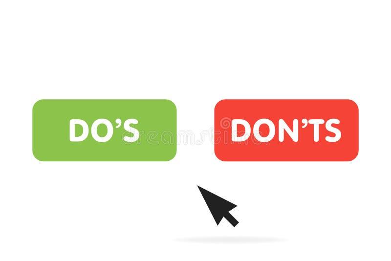 Dos e Donts, ícone do vetor com o cursor do rato do computador ilustração do vetor