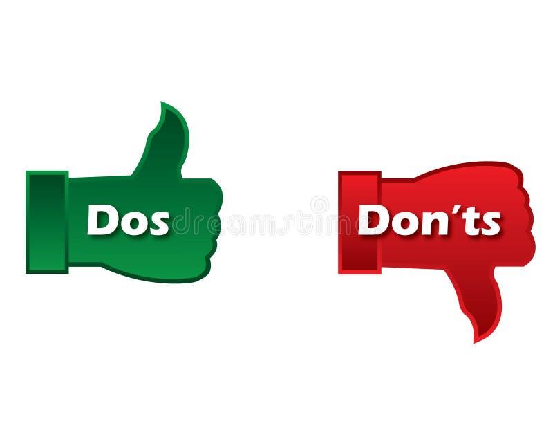 DOS e donts illustrazione vettoriale