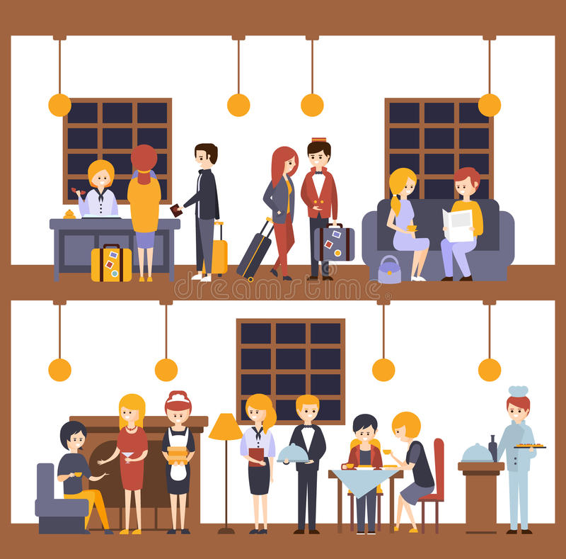 Dos ejemplos, escenas en el hotel en la recepción y restaurante ilustración del vector