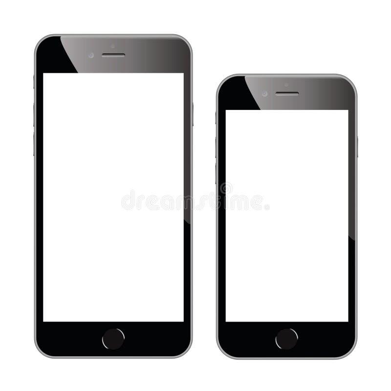 Dos ejemplos negros de alta calidad del vector del smartphone aislados stock de ilustración