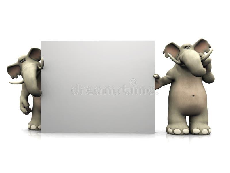 Dos elefantes de la historieta con la muestra en blanco grande. stock de ilustración