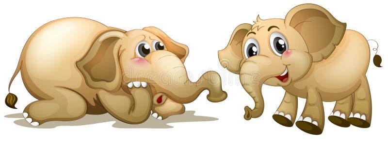 Dos elefantes juguetones stock de ilustración