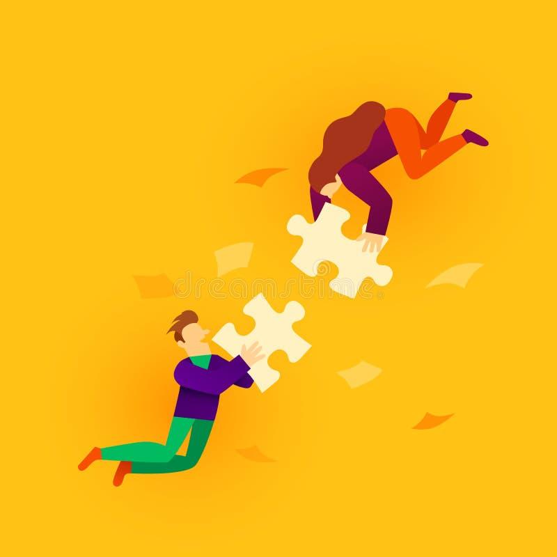 Dos elementos de conexión del rompecabezas del estilo de la gente plana de la historieta Concepto del negocio, del trabajo en equ stock de ilustración