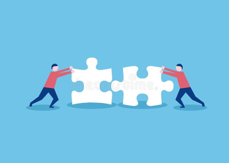 Dos elementos de conexión del rompecabezas de la gente plana del estilo Concepto del negocio, del trabajo en equipo y de la socie ilustración del vector