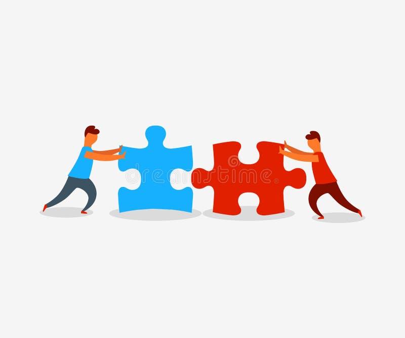 Dos elementos de conexión del rompecabezas de la gente plana del estilo Concepto del negocio, del trabajo en equipo y de la socie libre illustration