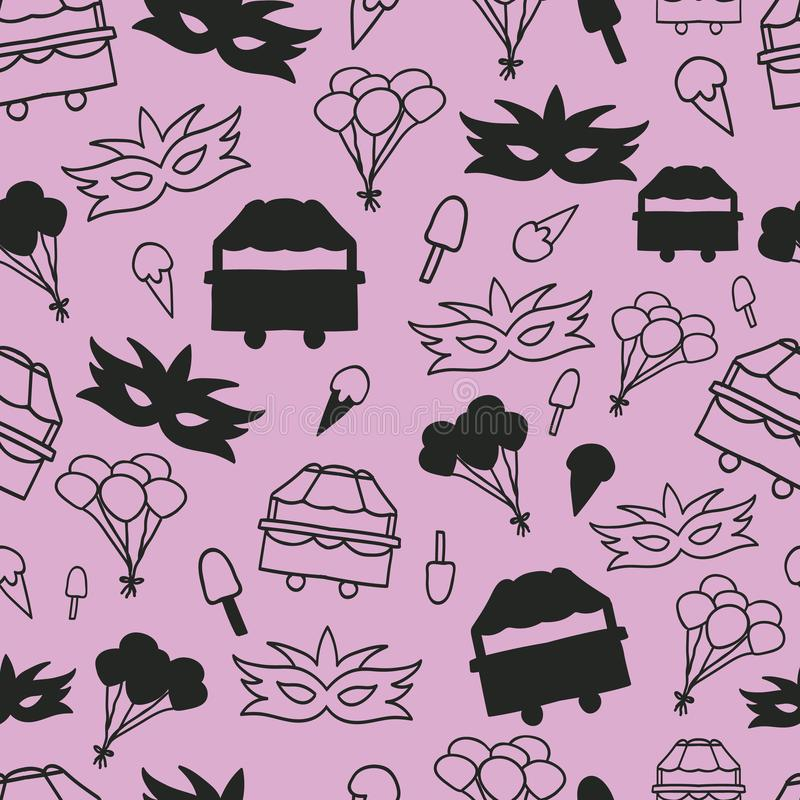 Dos elementos violetas do carnaval do vetor fundo sem emenda do teste padrão ilustração stock
