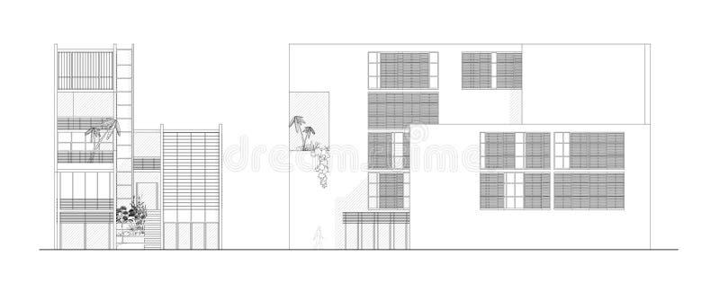 Dos elevaciones de un diseño arquitectónico moderno libre illustration
