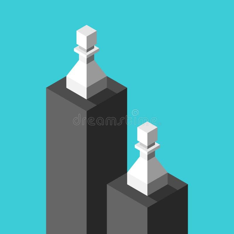 Dos empeños blancos isométricos en pedestales negros, bajo y alto Concepto de la desigualdad, de la diferencia, de la discriminac stock de ilustración