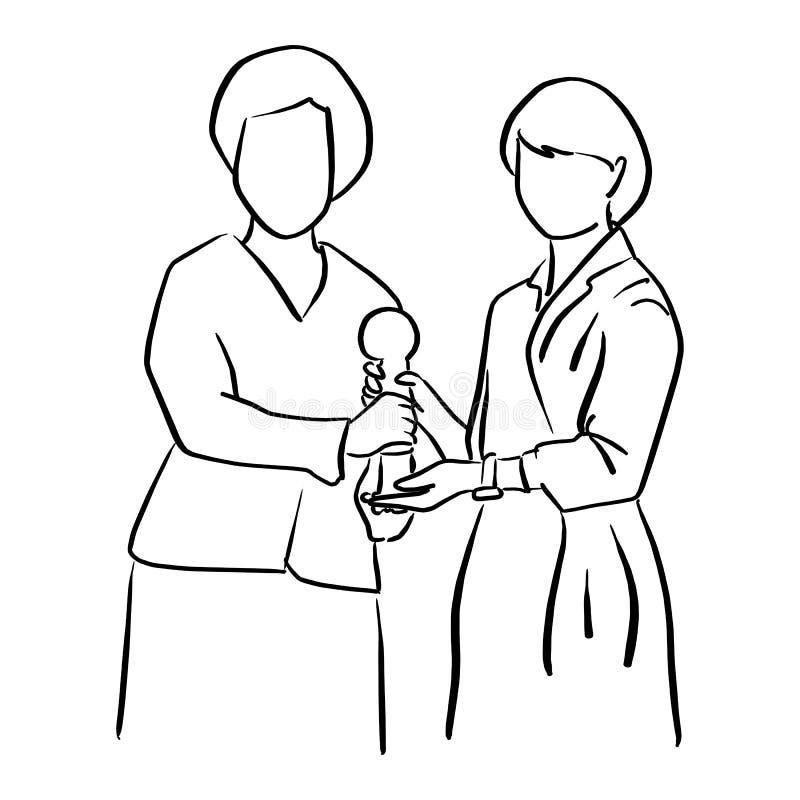 Dos empresarias que mantienen el ejemplo SK del vector del trofeo unido stock de ilustración