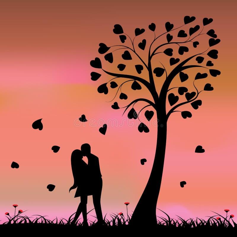 Dos enamorados bajo un árbol de amor, ejemplo ilustración del vector