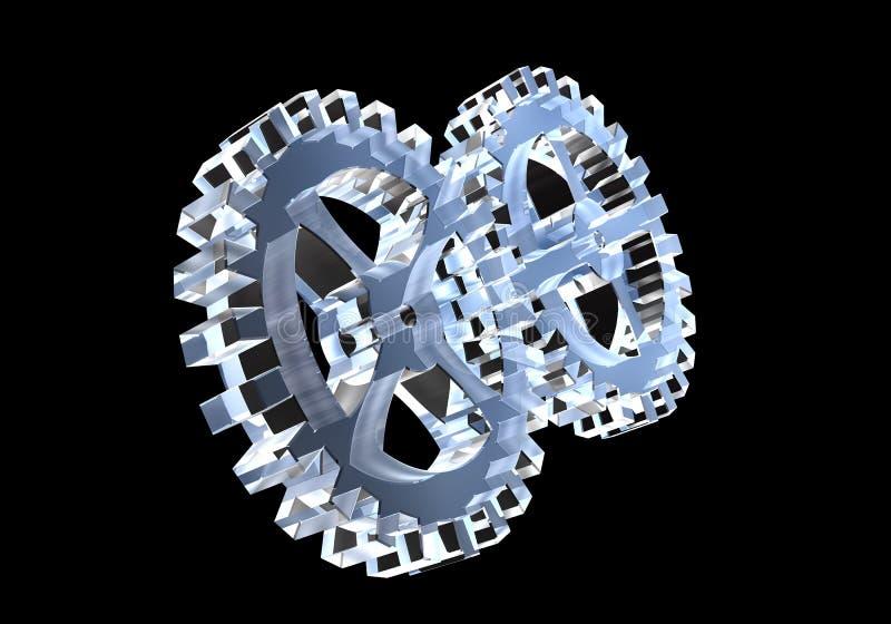 Dos engranajes en el vidrio (3D) stock de ilustración