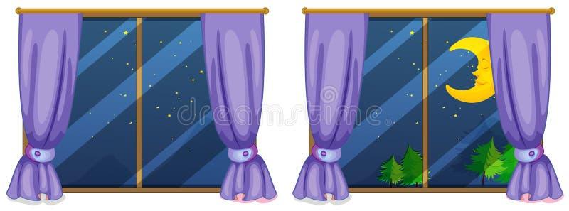 Dos escenas de la ventana en la noche ilustración del vector