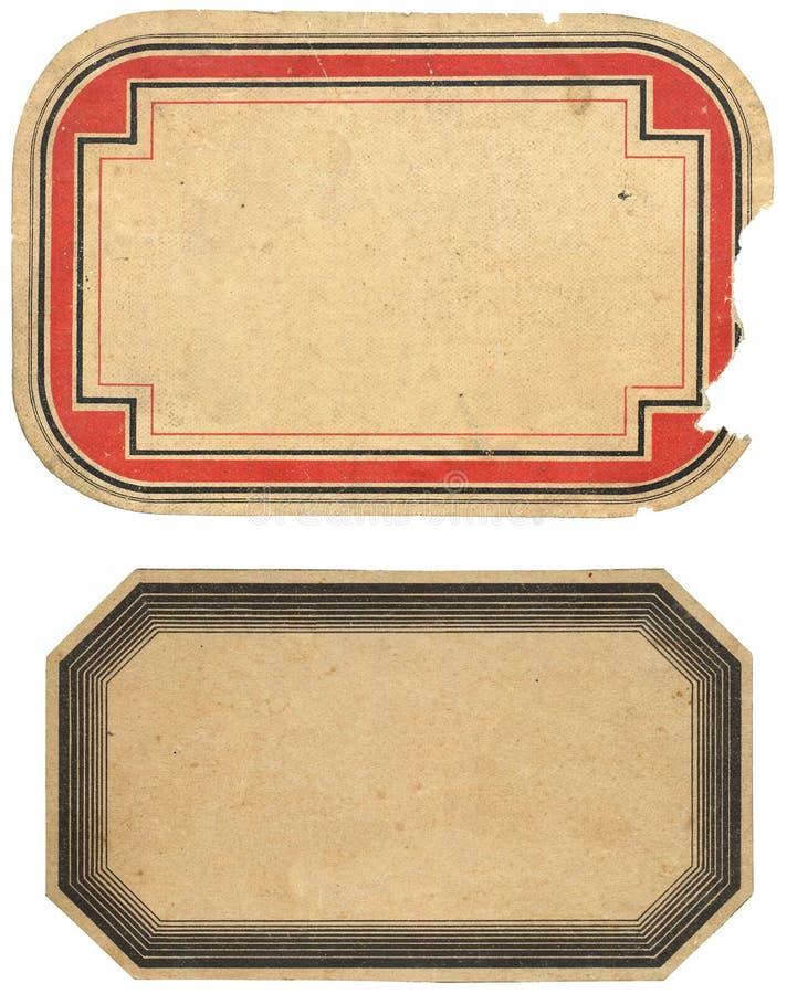Dos escrituras de la etiqueta de la vendimia imagen de archivo libre de regalías