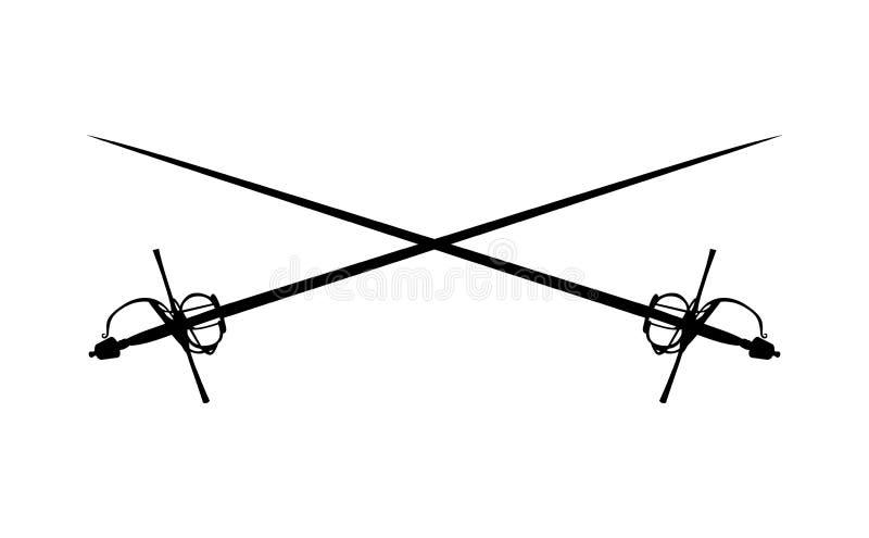 Dos espadas del estoque cruzadas stock de ilustración