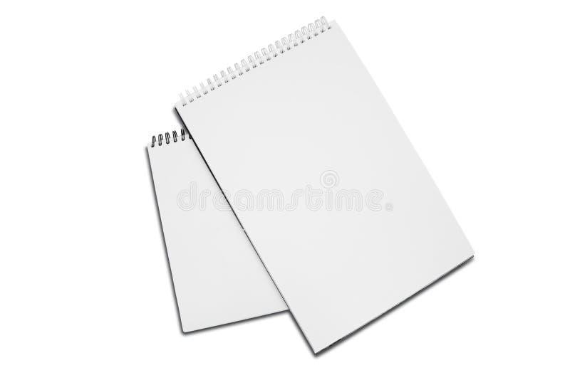 Dos espiral blanco en blanco - cojín de papel encuadernado del dibujo con la sombra imágenes de archivo libres de regalías