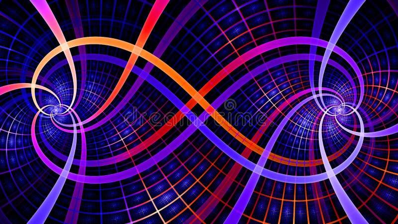 Dos espirales que entrelazan que crean un símbolo del infinito con las tejas decorativas, todas en rosado brillante vivo, púrpura stock de ilustración