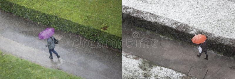 Dos estaciones en la composición del año foto de archivo