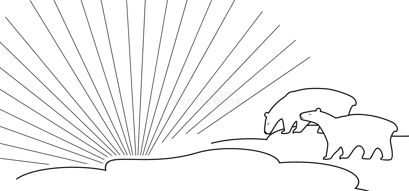 Dos estilizaron osos polares contra la perspectiva de rayos del sol polar stock de ilustración
