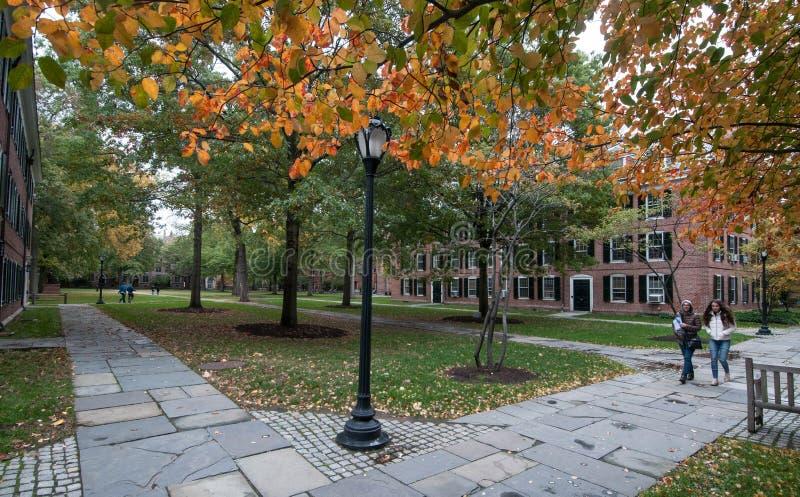 Dos estudiantes cruzan el patio en el campus viejo en Yale University en otoño fotografía de archivo libre de regalías