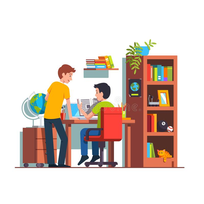 Dos estudiantes que hacen el sitio del niño de la preparación en casa imágenes de archivo libres de regalías
