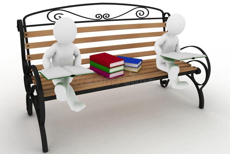Dos estudiantes se están sentando en un banco y leen de libros ilustración del vector