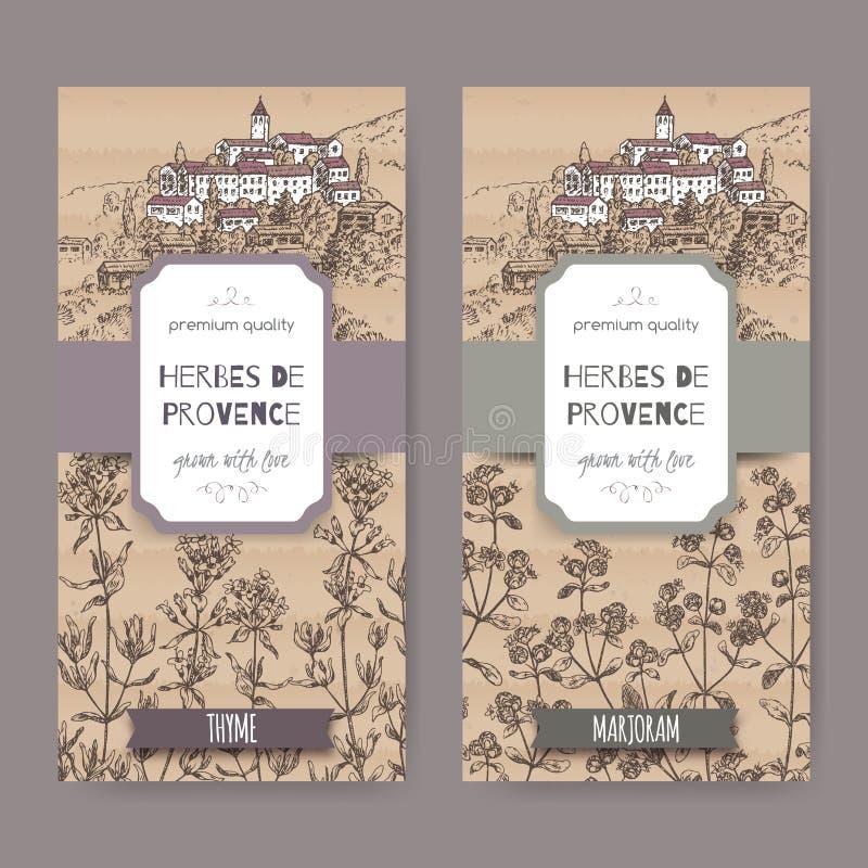 Dos etiquetas de Herbes de Provence con la ciudad, el tomillo y la mejorana libre illustration