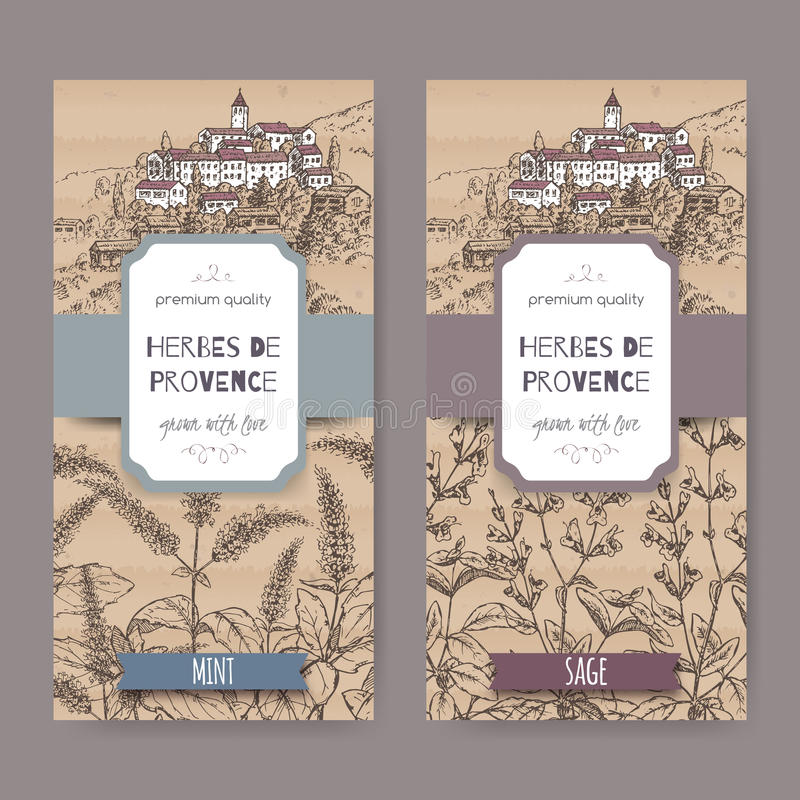 Dos etiquetas de Herbes de Provence con la ciudad, menta, bosquejo sabio stock de ilustración