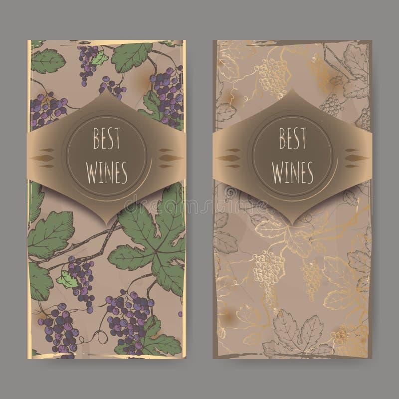 Dos etiquetas del vino con el modelo de la vid del color en fondo del vintage stock de ilustración