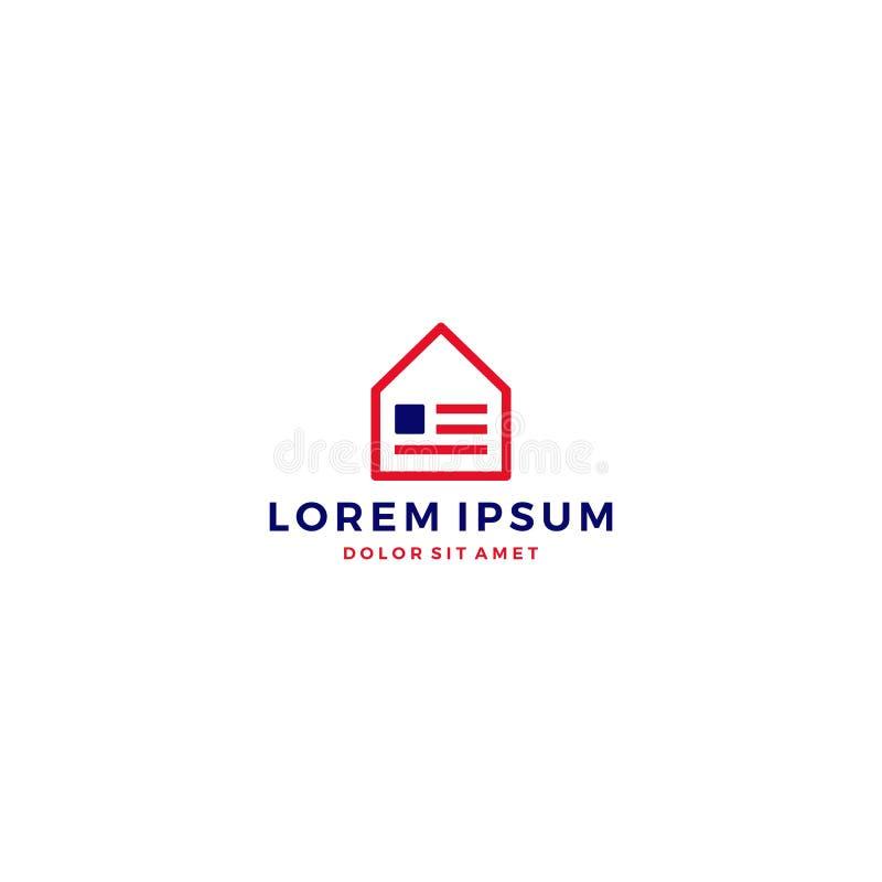 dos EUA logotipo da bandeira americana da casa em casa ilustração stock