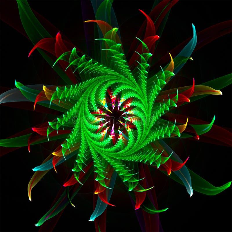 Dos factals digitais do sumário da arte do fractal do computador cacto de fluxo vermelho delicado fantástico ilustração do vetor