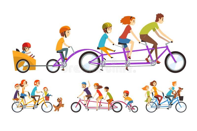 Dos familias felices que montan en las bicicletas en tándem con tres asientos y cestas Concepto del Parenting Reconstrucción con  libre illustration