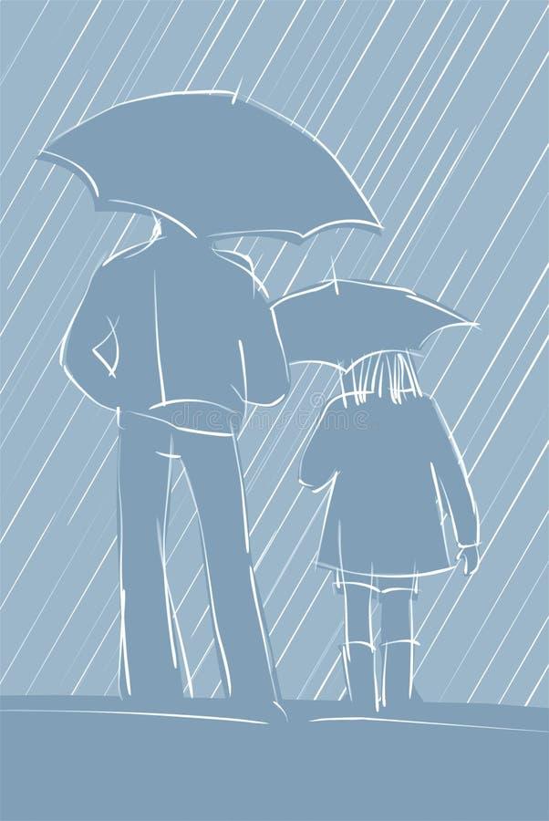 Dos figuras en la lluvia ilustración del vector