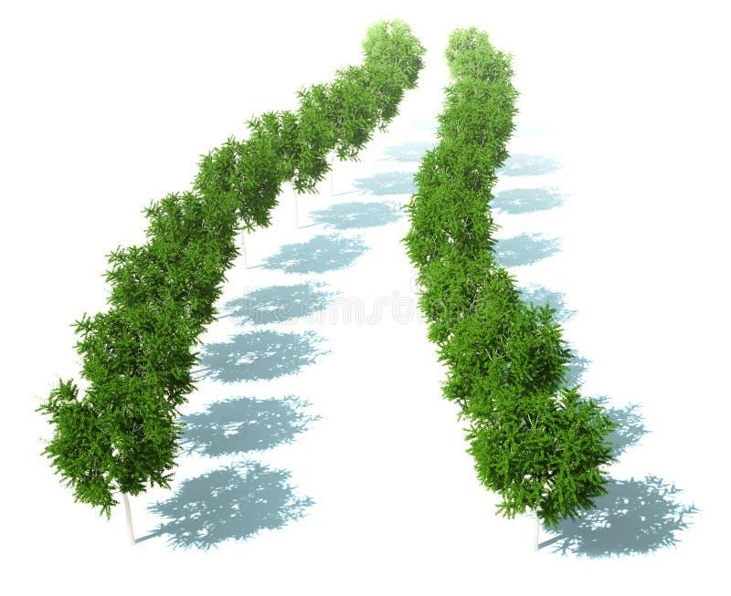 Dos filas de árboles ilustración del vector