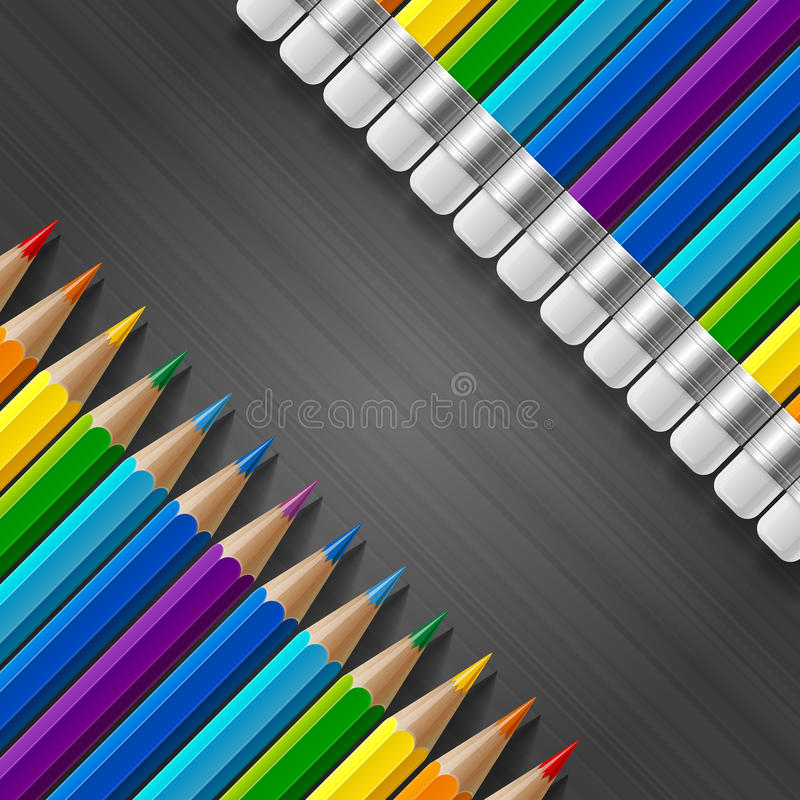 Dos filas diagonales de lápices coloreados arco iris con ilustración del vector