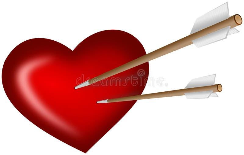 Dos flechas apuñalaron en corazón libre illustration
