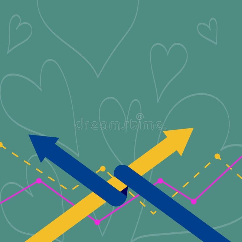 Dos flechas coloridas donde una se entrelaza a la otra como símbolo de la sociedad, colaboración, acuerdo o ilustración del vector