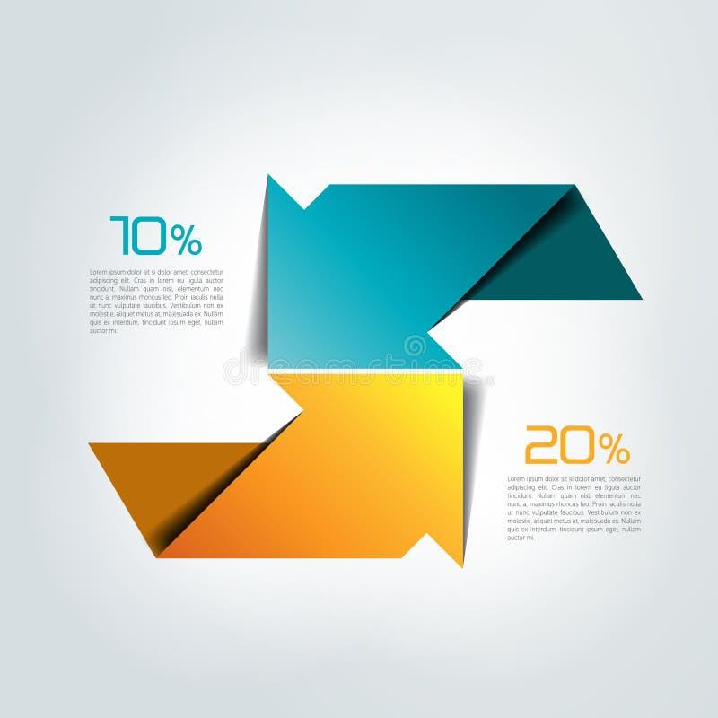 Dos flechas en diversa dirección infographic, carta, esquema, diagrama stock de ilustración