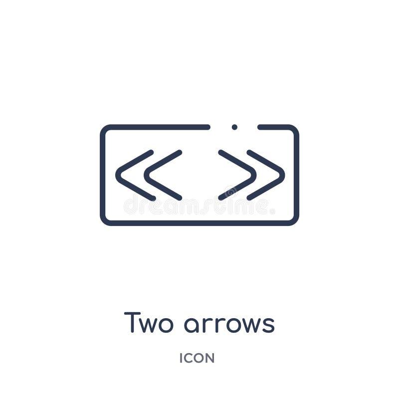 dos flechas que señalan el icono correcto e izquierdo de la colección del esquema de la interfaz de usuario Línea fina dos flecha ilustración del vector