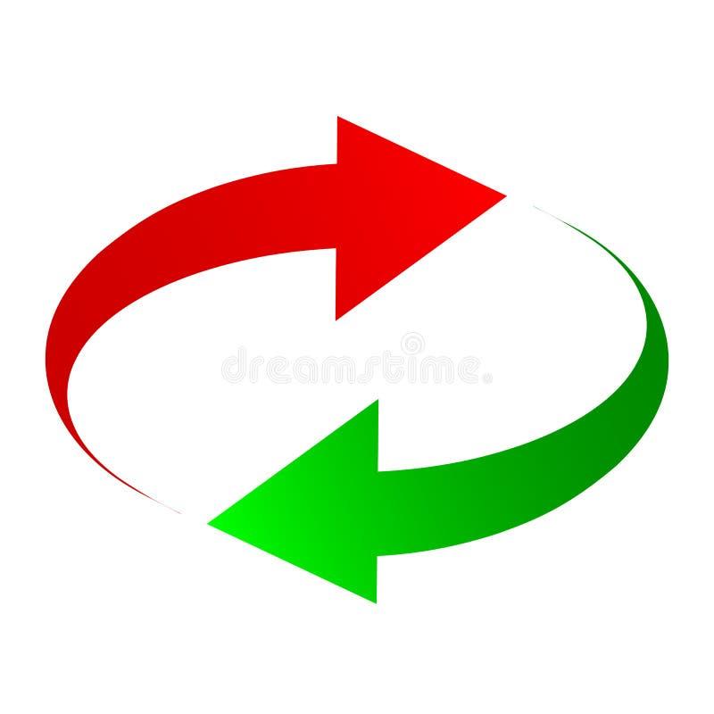 Dos flechas: verde y rojo - para la acción ilustración del vector
